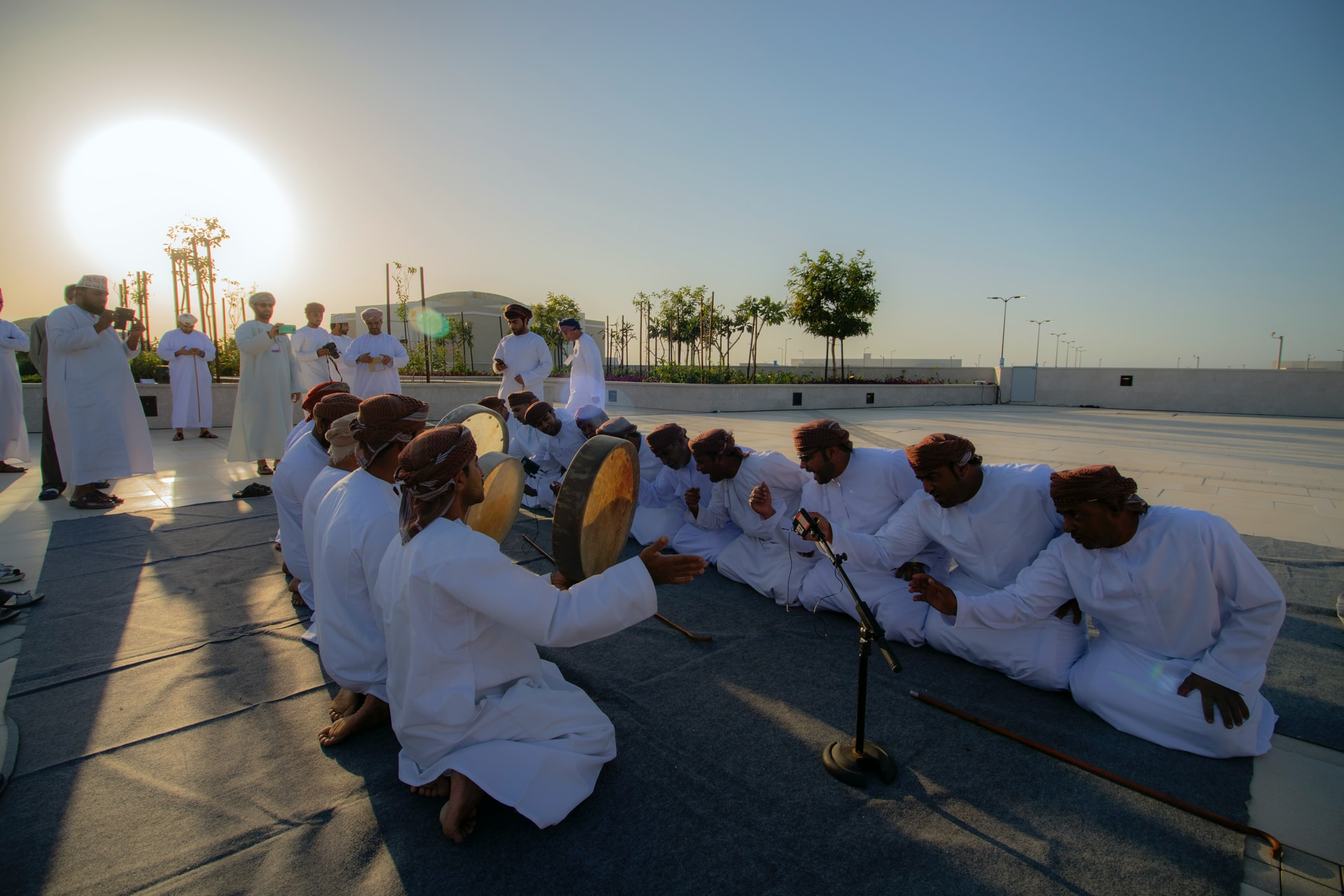 kneeling men