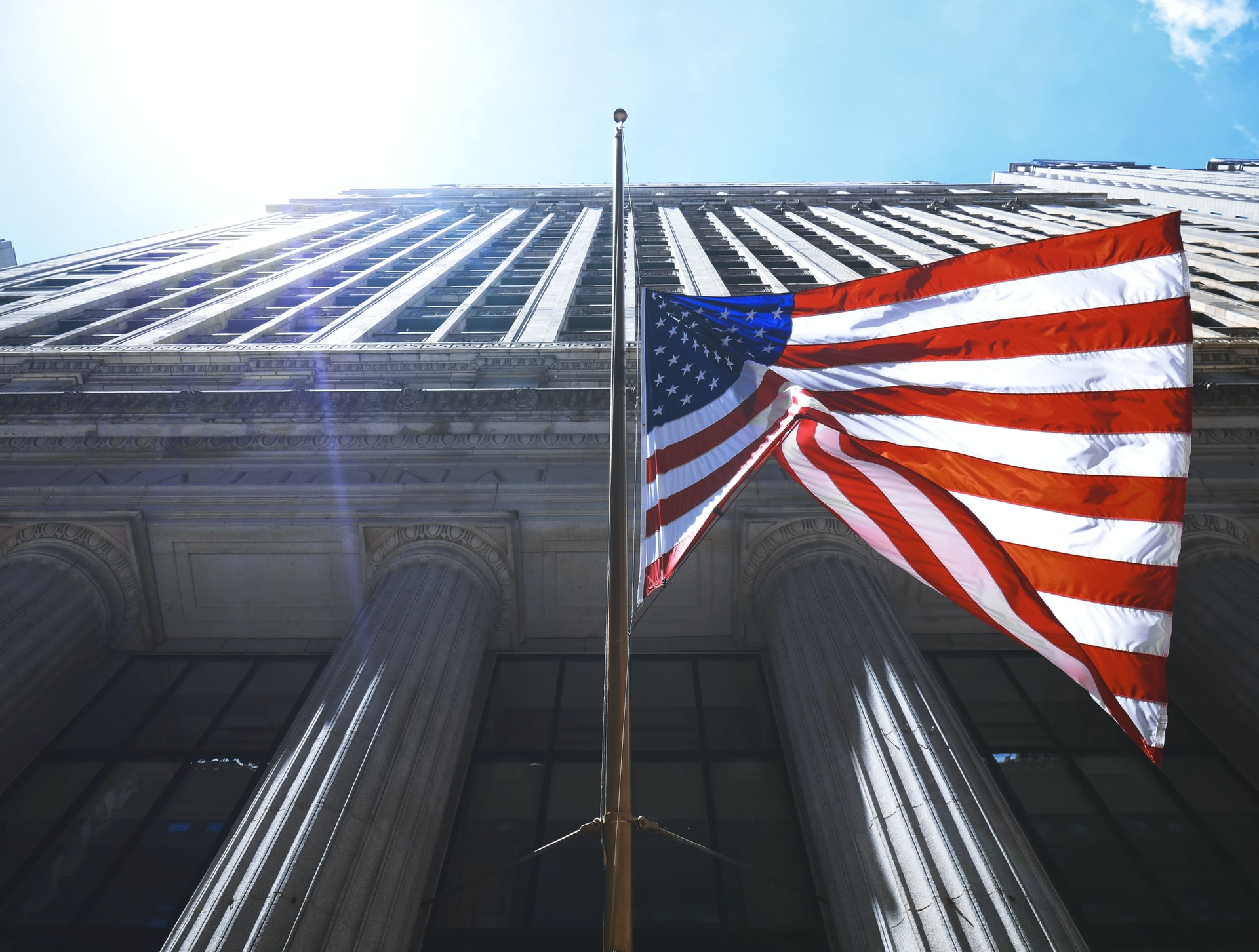 usa flag on building background